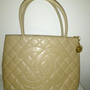 SALE-Authentic Chanel Medalion caviar leather